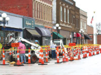 Work begins on downtown sidewalks