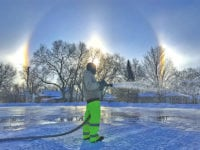 Days of cold weather allow park to transform into ice rink