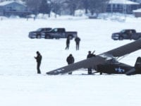 Plane makes a crash landing on Clear Lake