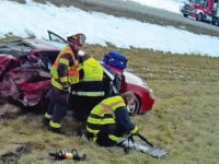 Two vehicle crash on I-35 sends victims to hospital, closes road